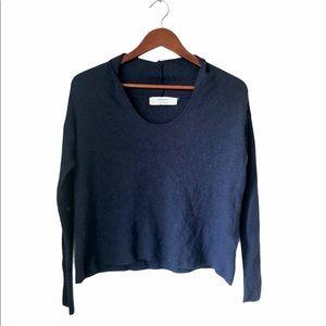 Zara Knit Navy Wool & Alpaca Cropped Sweater M